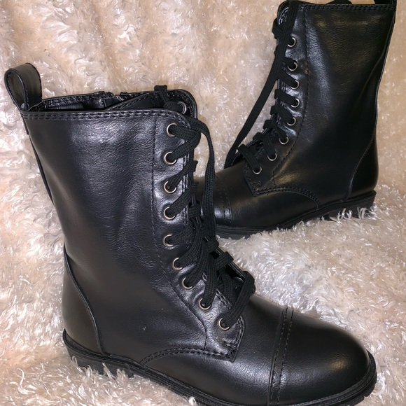 Womens Leather Combat Style Boots